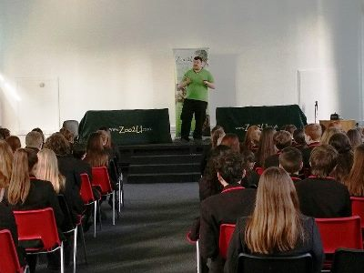Zoo2U at secondary school assembly