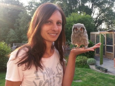 Melissa with baby Bumble the owl